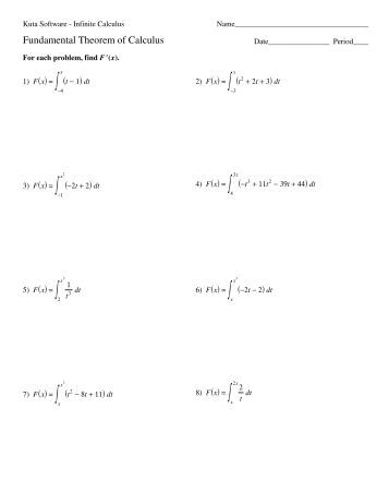 Worksheets Fundamental Theorem Of Calculus Worksheet worksheet 5 2 the fundamental theorem of calculus using second kuta software