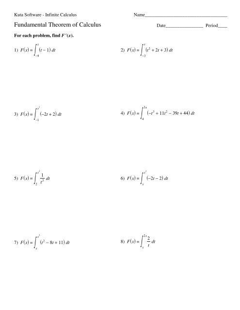 Second Fundamental Theorem of Calculus - Kuta Software