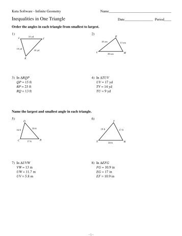 5 The Triangle Inequality Theorem Pdf Kuta Software