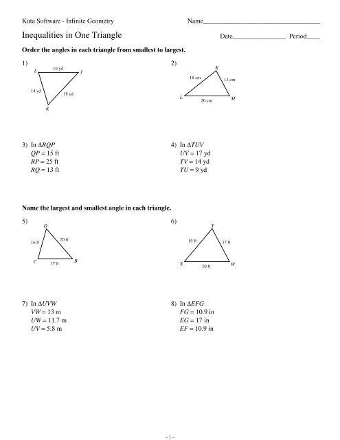 5-Inequalities in One Triangle - Kuta Software
