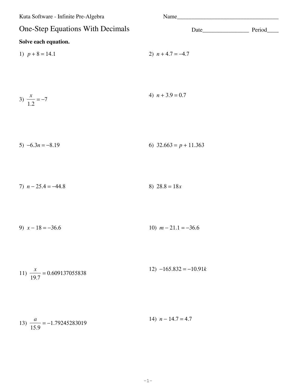 Solving Equations With Variables On Both Sides Worksheet Kuta – Solving Multi Step Equations Worksheet