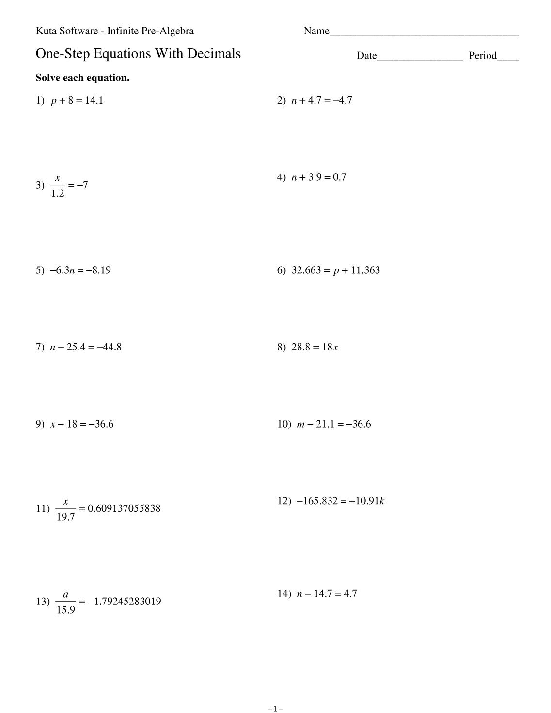 worksheet 2 Step Equation Worksheet divide decimals worksheet kuta software solving multi step two equations with integers jennarocca