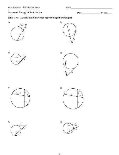 11-Segment Lengths in Circles - Kuta Software