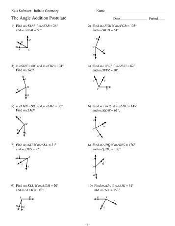 Worksheet Angle Addition Postulate - worksheet angle addition ...
