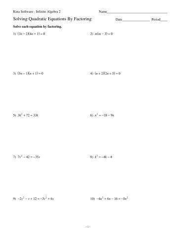 Printables Algebra 2 Solving Equations Worksheet printables solving quadratic equations by factoring worksheet when a is greater