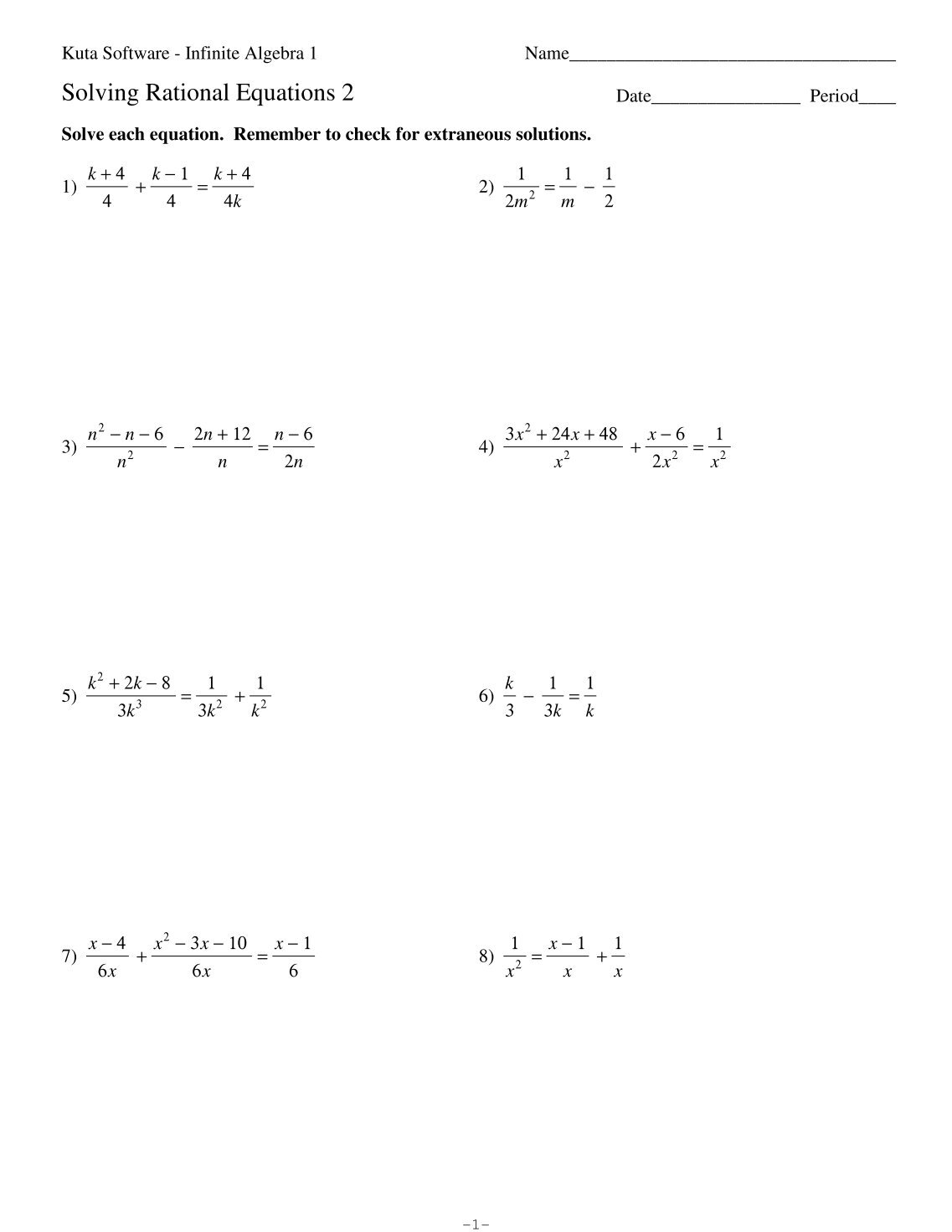 Kuta Software Algebra 1 Solving Quadratic Equations By Factoring – Holt Mcdougal Algebra 1 Worksheet Answers