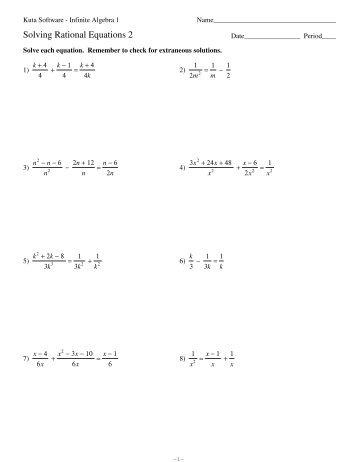 Solving Rational Equations 2 - Kuta Software
