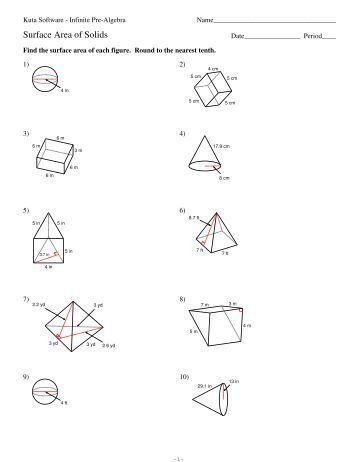 Volume Of Cylinder Worksheets Kuta: 10 Surface Area of Prisms and Cylinders   Kuta Software,