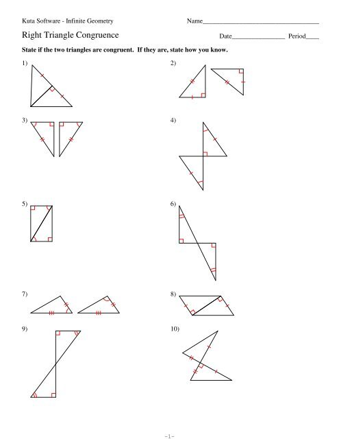 4 Right Triangle Congruence Pdf Kuta Software