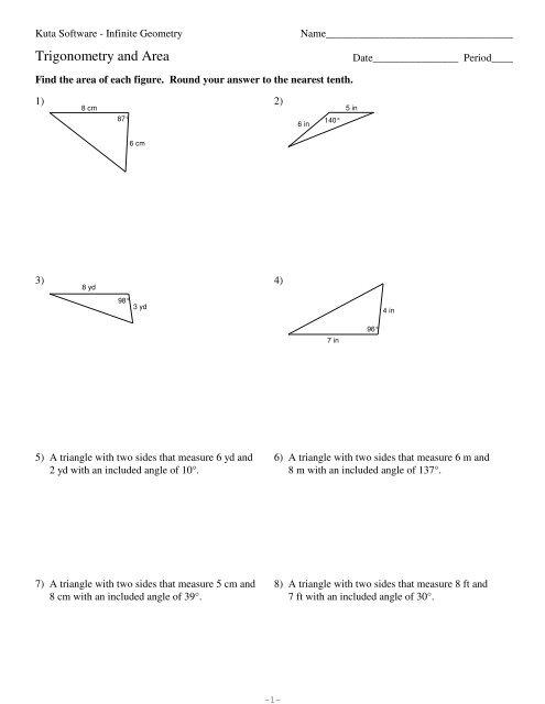 9-Trigonometry and Area - Kuta Software