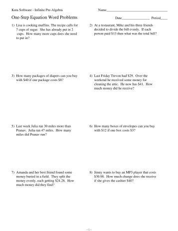 One Step Word Problems Kuta