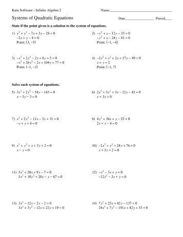 Systems of Quadratic Equations - Kuta Software