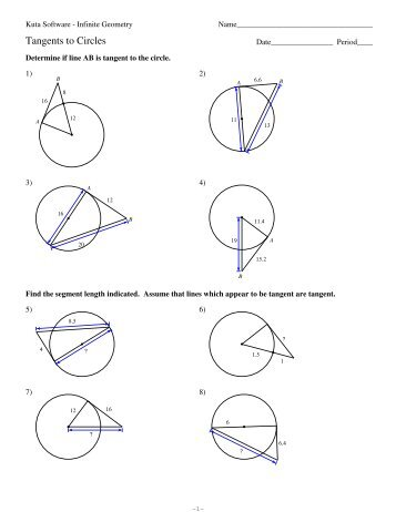 11 Secant Tangent And Tangent Tangent Angles Kuta Software