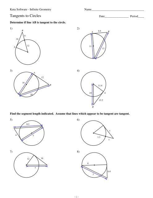 11-Tangents to Circles - Kuta Software