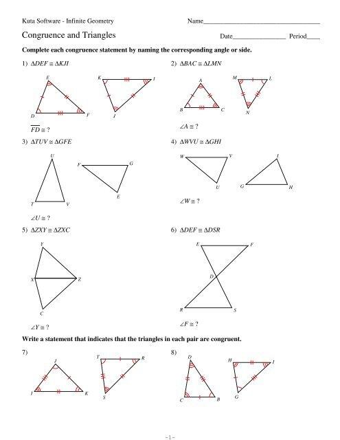 4-Congruence and Triangles - Kuta Software