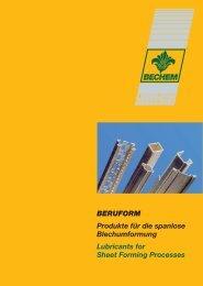 BERUFORM Produkte für die spanlose Blechumformung Lubricants ...