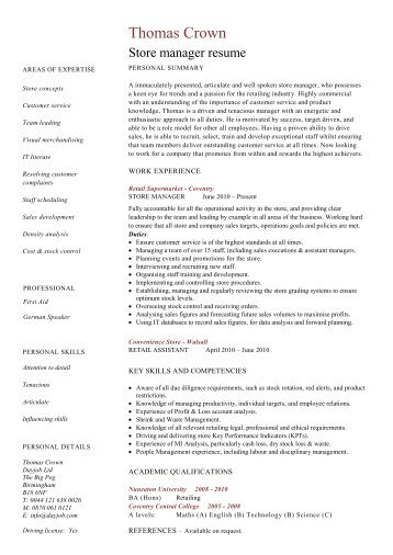 Architect resume template cv example job description dayjob store manager resume template dayjob pronofoot35fo Gallery