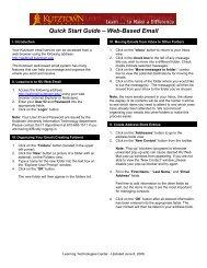 Quick Start Guide – Web-Based Email - Kutztown University