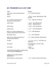 KU PERIODICALS LIST 2008 - Kutztown University