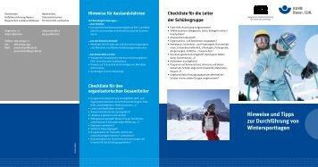 Hinweise und Tipps zur Durchführung von Wintersporttagen