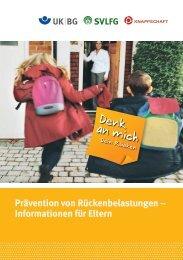 Informationen für Eltern - Denk an mich. Dein Rücken