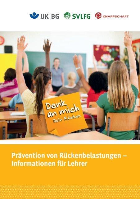 Informationen für Lehrer - Denk an mich. Dein Rücken