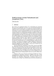 Politik in Europa zwischen Nationalstaaten und Europäischer Union