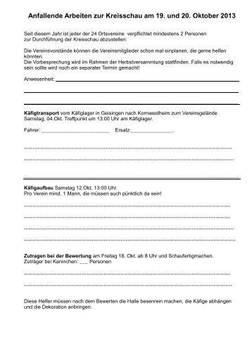 Anfallende Arbeiten zur Kreisschau am 19. und 20. Oktober 2013