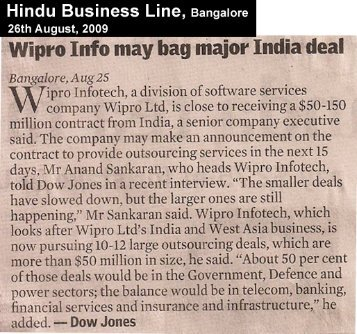 Wipro Info may hag major India deal
