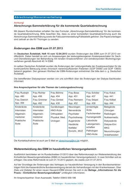 Rundschreiben 5/2013 - Kassenärztliche Vereinigung Thüringen