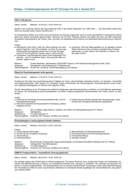 Fortbildungsprogramm der KV Thüringen für das 2. Quartal 2013 ...