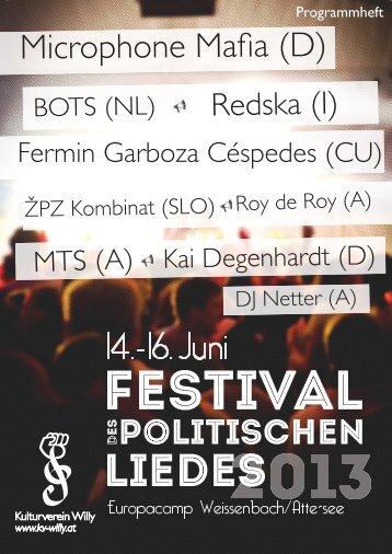 Festival Programmheft 2013 - Kulturverein Willy