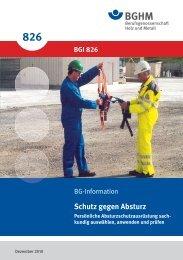 BGI 826: Schutz gegen Absturz - BGHM