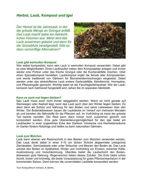 Herbst, Laub, Kompost und Igel - beim Verband KVA Thurgau