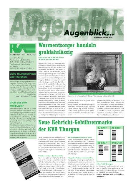 Ausgabe Januar 2001 - beim Verband KVA Thurgau