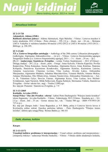 Meno leidinių (.pdf, 775 KB) - Kauno apskrities viešoji biblioteka