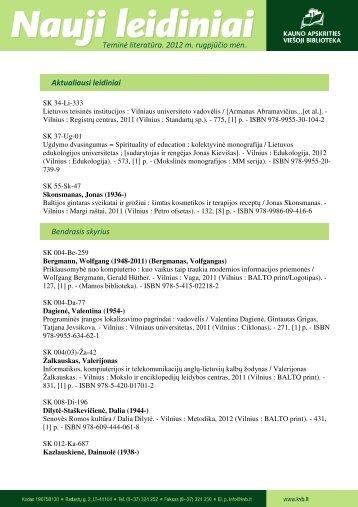 Teminės literatūros (.pdf, 232 KB) - Kauno apskrities viešoji biblioteka