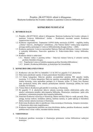 Konkurso nuostatai (.pdf, 152 KB) - Kauno apskrities viešoji biblioteka