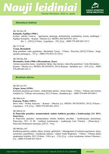 Teminės literatūros (.pdf, 449 KB) - Kauno apskrities viešoji biblioteka