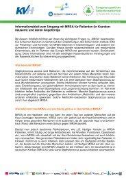 Informationsblatt zum Umgang mit MRSA für Patienten und ... - KVHH