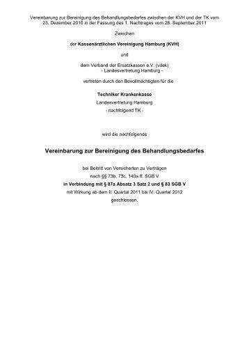 Vereinbarung zur Bereinigung des Behandlungsbedarfes - KVHH
