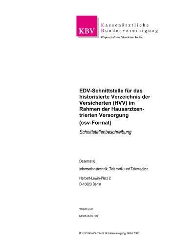 EDV-Schnittstelle für das historisierte Verzeichnis der ... - KVHH