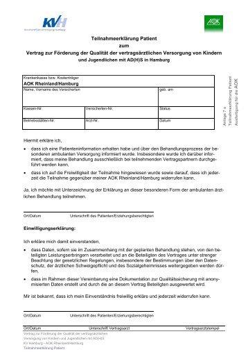 Teilnahmeerklärung Patient zum Vertrag zur Förderung der Qualität ...