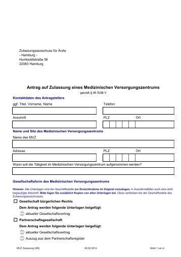 20140120 MVZ Zulassung - Kassenärztliche Vereinigung