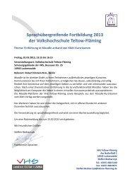 Sprachübergreifende Fortbildung 2013 der Volkshochschule Teltow ...
