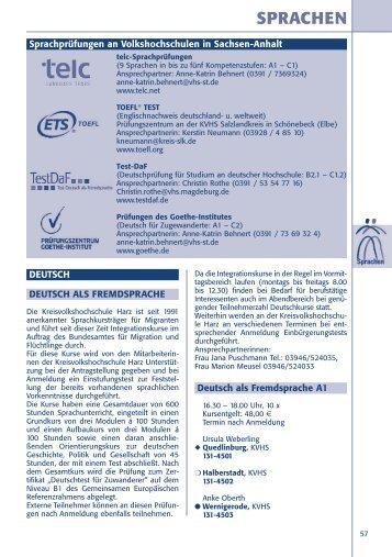 SPRACHEN - Kreisvolkshochschule Harz