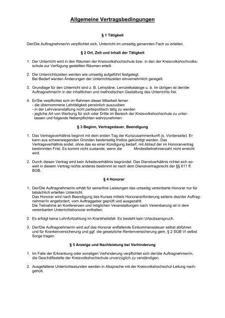 Vertragsbedingungen (Anlage zum Honorarvertrag)