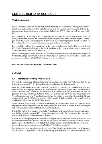 LEITBILD DER KREISVOLKSHOCHSCHULE OSTERODE