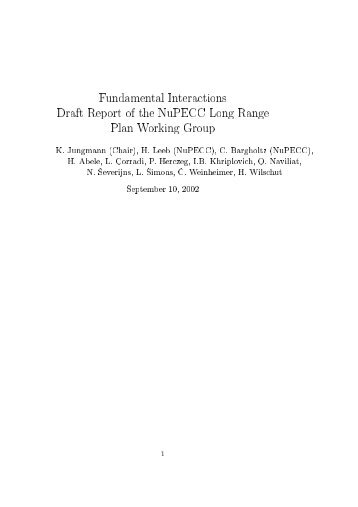 Fundamental Interactions Draft Report of the NuPECC Long ... - KVI