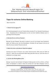 Tipps für sicheres Online-Banking - Der Hamburgische Beauftragte ...